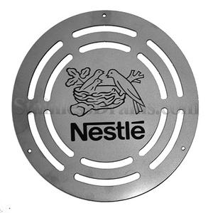 custom drain grate with Nestle logo